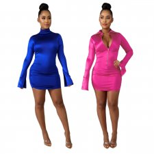 Sexy Turtleneck Zipper Long Sleeves Bodycon Dresses SHE-7148