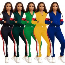 Casual Patchwork Zipper Tracksuit Two Piece Sets WY-6640
