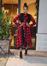 Plus Size Plaid Patchwork Long Sleeves Sashes Maxi Dress AL-160