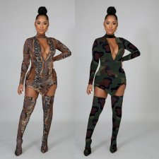 Plus Size Camo Print Deep V Mini Dress With Stocking NY-7064