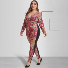Plus Size 5XL Sexy Sequins Skinny Jumpsuits OSS-19527