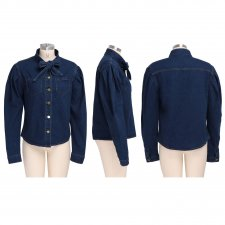 Trendy Puff Sleeve Bow Tie Denim Shirt Tops SMR-9512