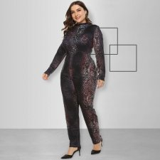 Plus Size Printed Long Sleeves Bodycon Jumpsuits OSS-008