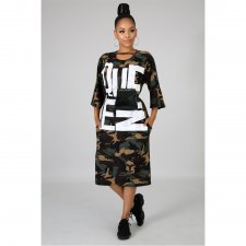 Letter Camo Print Three Quarter Sleeve Split Midi Dress ASL-6226