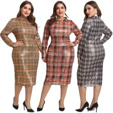 Plus Size Plaid Sequin Long Sleeve Slim Midi Dress OSS-19523