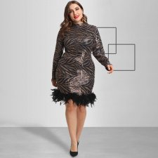 Plus Size Sequin Leopard Feather Splice Mini Dress OSS-19521