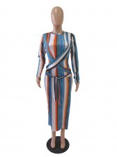 Plus Size Stripe Print Full Sleeve Long Dress SC-745