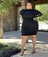 Plus Size 4XL Black Long Sleeve Bodycon Dress LSL-6331