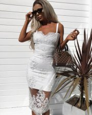 Sexy Mesh Embroidery Spaghetti Strap Midi Dress MS-608