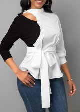 Casual Patchwork Full Sleeve Sashes Blouse Tops BS-1163