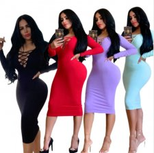 Sexy Long Sleeve Hollow Out Bodycon Midi Dress MZ-2508