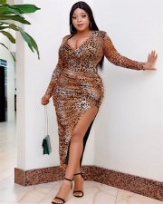 Plus Size 4XL Leopard Full Sleeve Irregular Long Dress ME-5084