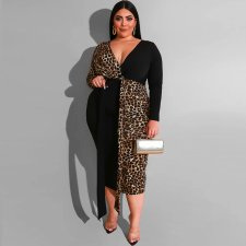 Plus Size 5XL Leopard Patchwork V Neck Midi Dress OSS-19452