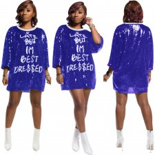 Sexy Sequin Letter Three Quarter Sleeve Mini Dress SFY-068