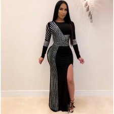 Plus Size Sexy Rhinestone High Split Maxi Dress NY-8882