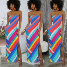 Colorful Stripe Strapless Slim Long Dress NM-8005