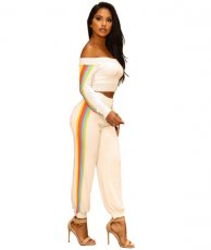 Stripe Off Shoulder Two Piece Set YIS-901