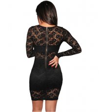 Long Sleeves Black Lace Dress LX-8568