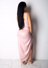 Sexy Sleeveless Hollow Out Fold HIgh Split Long Dress BER-1834