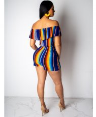 Colored Striped Off Shoulder Rompers QZX-6033
