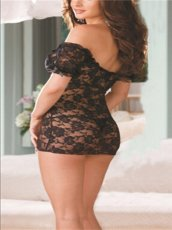Black Stretch Perspective Lace Rose Babydoll Dress