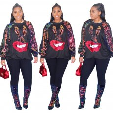 Plus Size Sequined Patchwork Pullover Sweatshirt CQ-5281