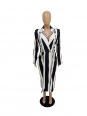 Plus Size Stripe Double-breasted Long Blazer Coats SC-675