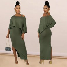 Solid Off Shoulder Split Long Dress Two Piece Sets SHE-7142