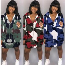Camouflage Print Hooded Zipper Casual Mini Dress MYP-8896