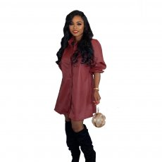 PU Leather Turndown Collar Long Sleeve Shirt Dress BN-9215