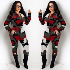 Camouflage Print Zipper Casual Two Piece Pants Sets AL-151
