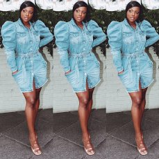 Fashion Puff Sleeves Button Up Denim Mini Dress LA-3154