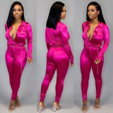 Sexy Deep V Neck Long Sleeve Two Piece Suits SH-3705