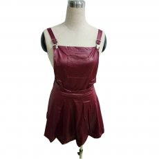 Trendy PU Leather Wine Red Strap Mini Dresses LX-8923