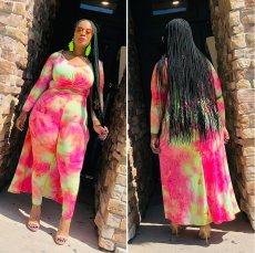 Plus Size 4XL Printed High Low Top Long Pant Sets OMF-106