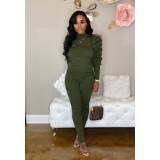 Solid Turtleneck Puff Sleeve Two Piece Pant Sets PIN-8468