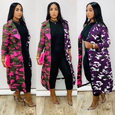 Camouflage Print Patchwork Long Coats HGL-1260