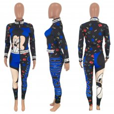Cartoon Print Zipper Long Sleeves Two Pieces Sets MEI-9070