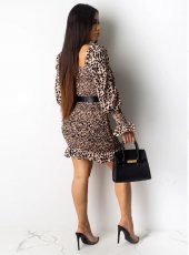 Leopard High Waist Ruched Ruffles Mini Dresses OMY-5187