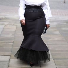 Plus Size Mesh Patchwork Ruffles Mermaid Maxi Skirt NY-8870