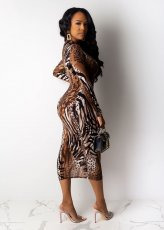 Sexy Leopard Print Full Sleeve Slim Long Dress SHA-6115