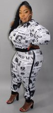Plus Size 5XL Newspaper Printed Two Piece Sets SC-739