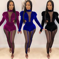 Sexy Velvet Mesh Patchwork Bodysuit And Pants Set BY-3331