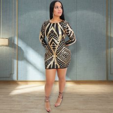 Geometric Sequined Backless Bodycon Mini Dress OSS-19510