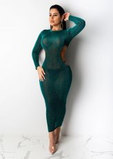 Sexy Hollow Out Long Sleeves Bodycon Long Dress ML-7278