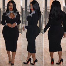 Plus Size Hot Drilling Full Sleeve Bodycon Midi Dress SC-716
