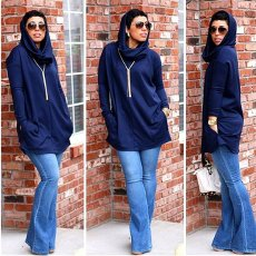 Casual Hooded Long Sleeves Hoodies Tops MDF-5113