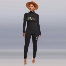 Letter Embroidery Turtleneck Casual Two Piece Sets OD-8332