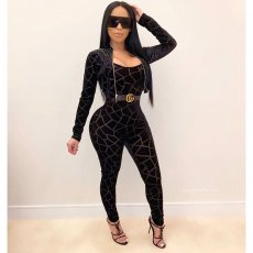 Fashion Printed Zipper Jacket & Jumpsuit 2 Piece Sets MOY-5165