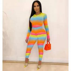 Rainbow Color Long Sleeve Tight Two Piece Sets FST-7058